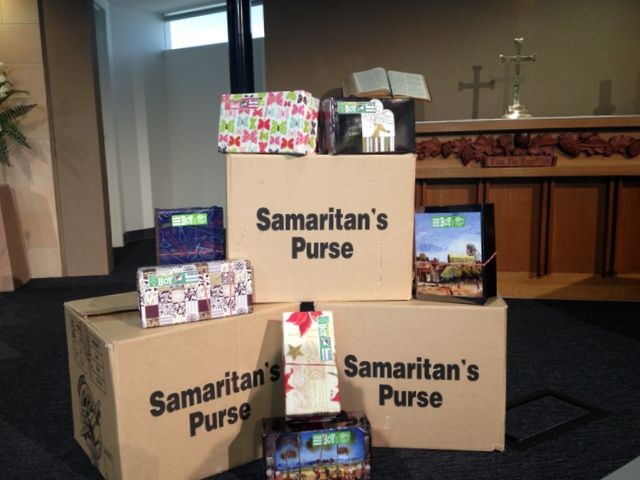 The boxes ready to leave our church